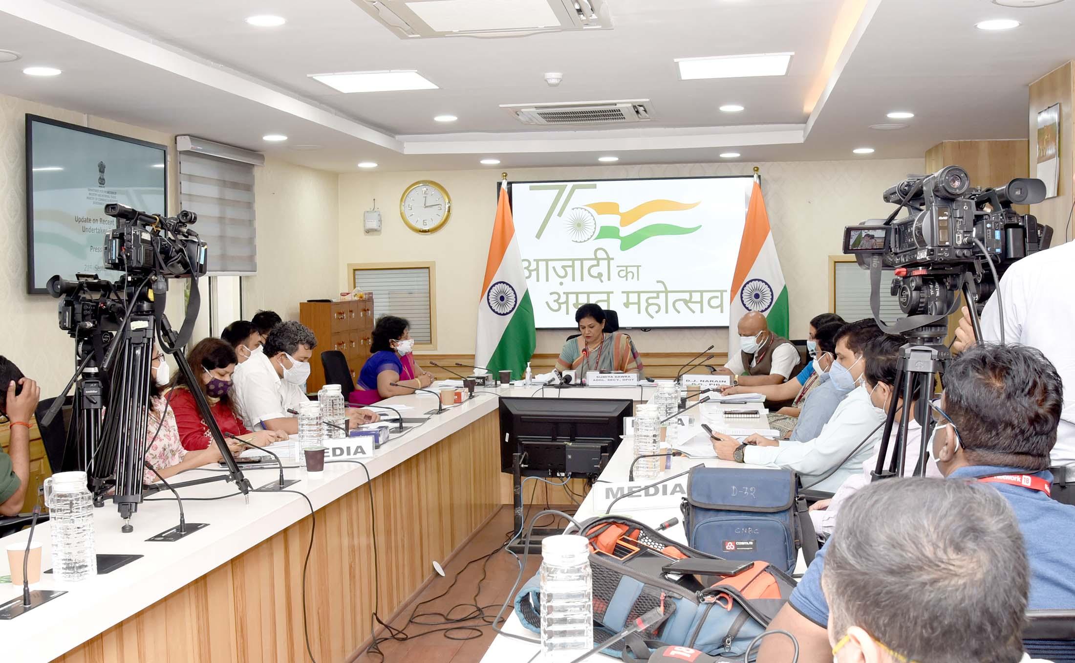 Ms. Sumita Dawra, Additional Secretary, DPIIT addressing a press briefing in New Delhi on Tuesday, Sep.21, 2021.