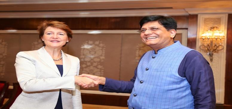 Commerce & Industry  Minister  meeting  Business Delegation led by Mrs Simonetta Sommaruga,Vice-President of Switzerland in New Delhi(21.10.2019).